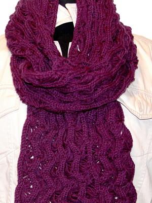 Purple fan Lace Scarf/Shawl-double-wrapped