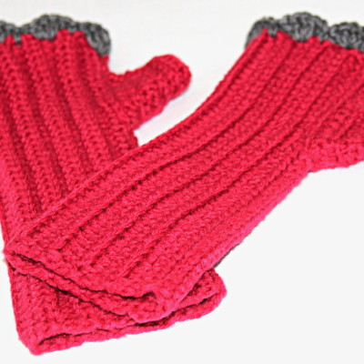 cherry-gray Combo shell edge glove